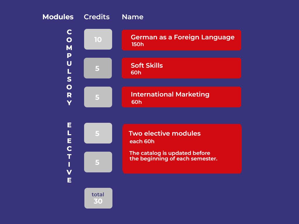 overview modules online bridging - German course, soft skills and international Marketing