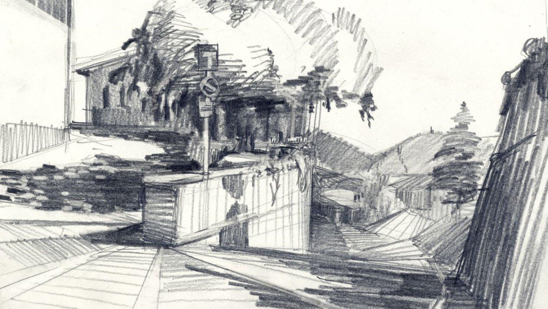 Bergamo - Architekturzeichnung Carl Constantin Weber