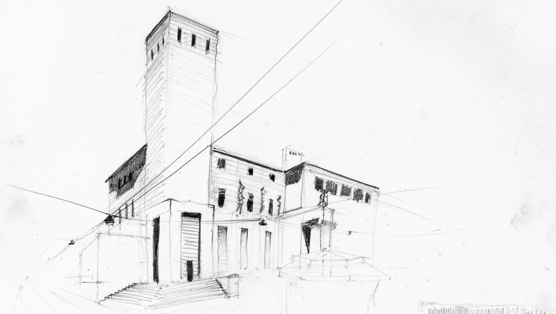 Postgebäude Bergamo - Architekturzeichnung Yasir Goli