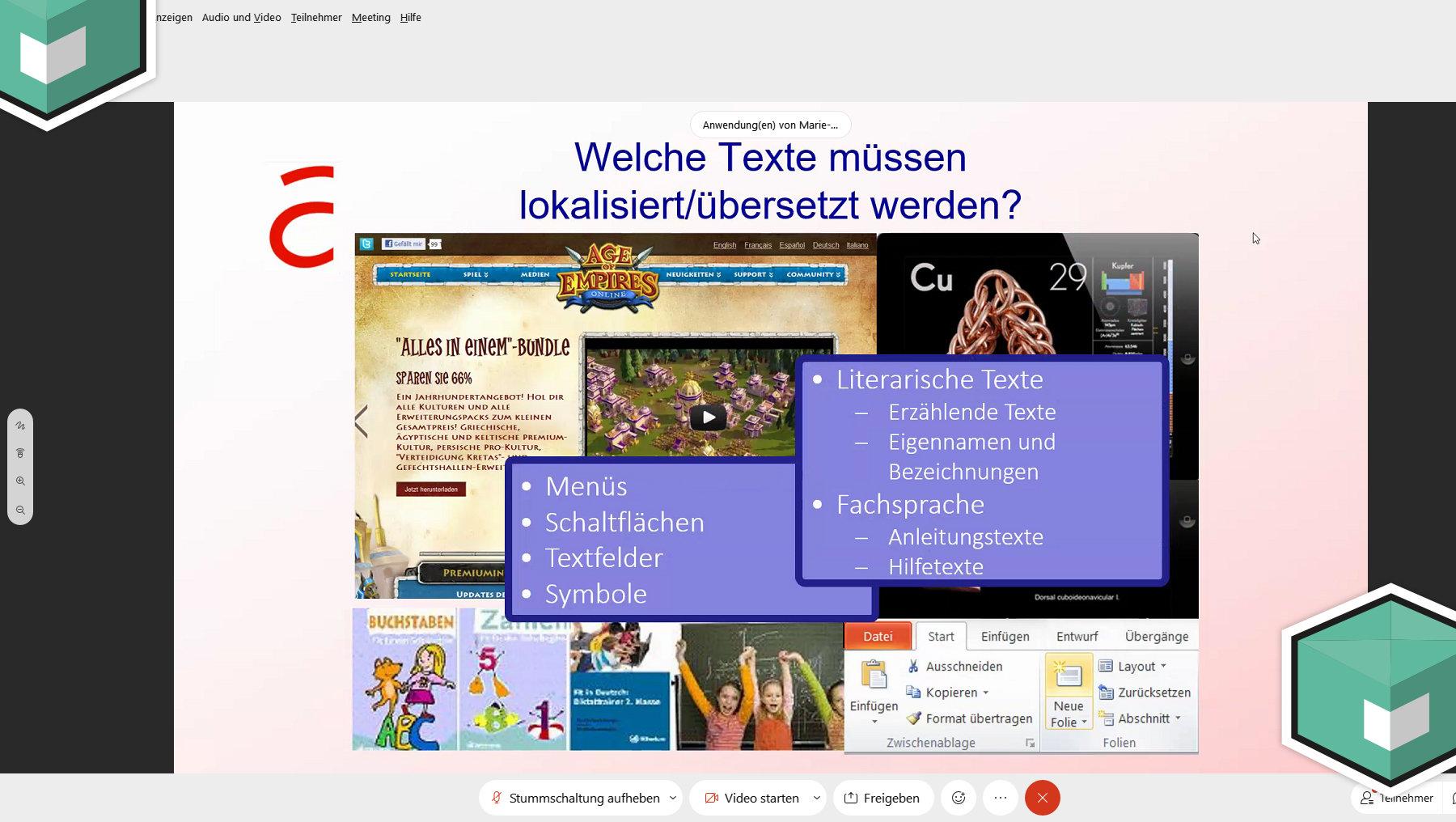 Auschnitt aus dem Girls'Day-Vortrag zum Thema Softwarelokalisierung