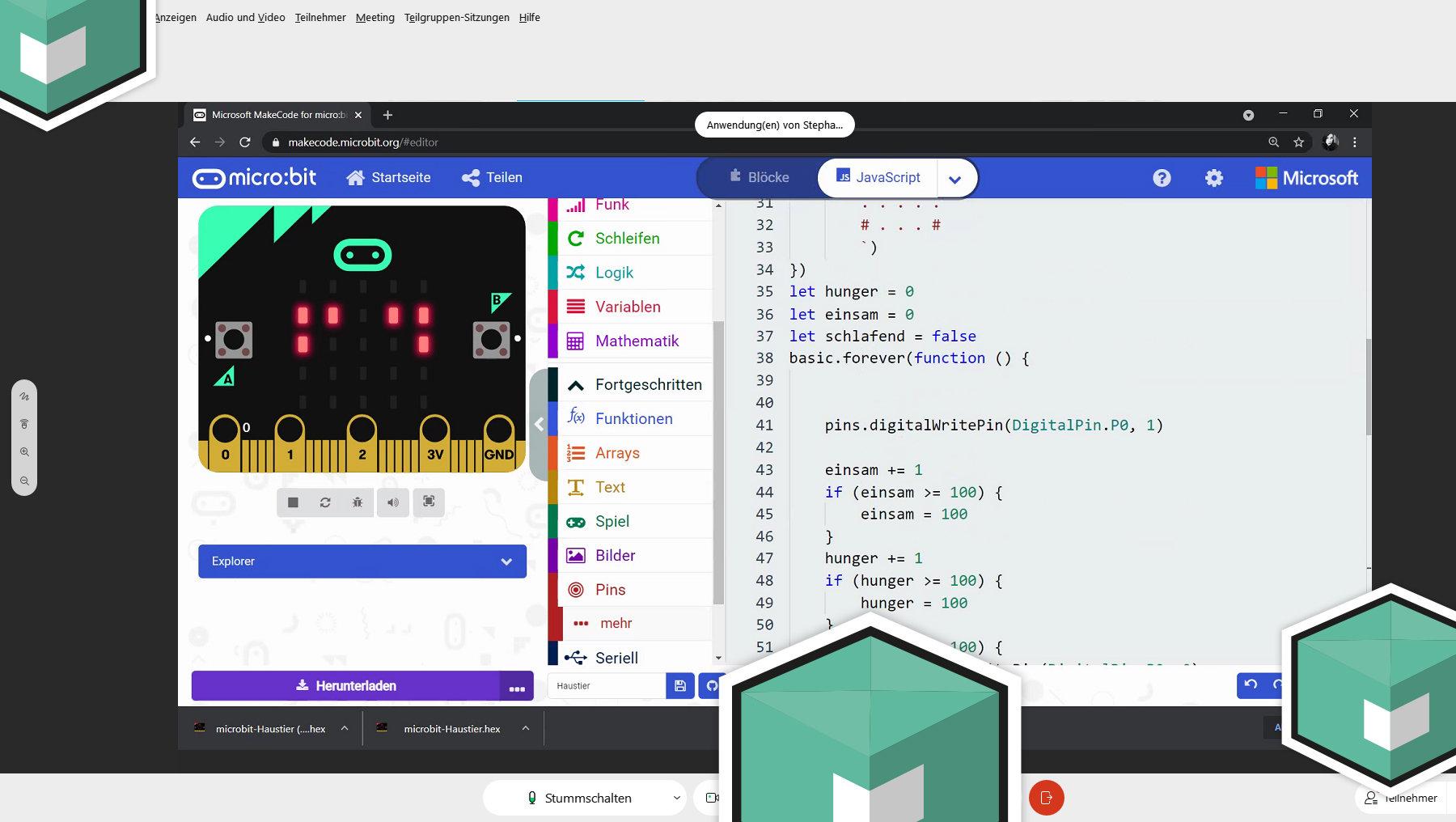Screenshot aus dem Girls'Day mit Mirco:bit-Programmieroberfläche