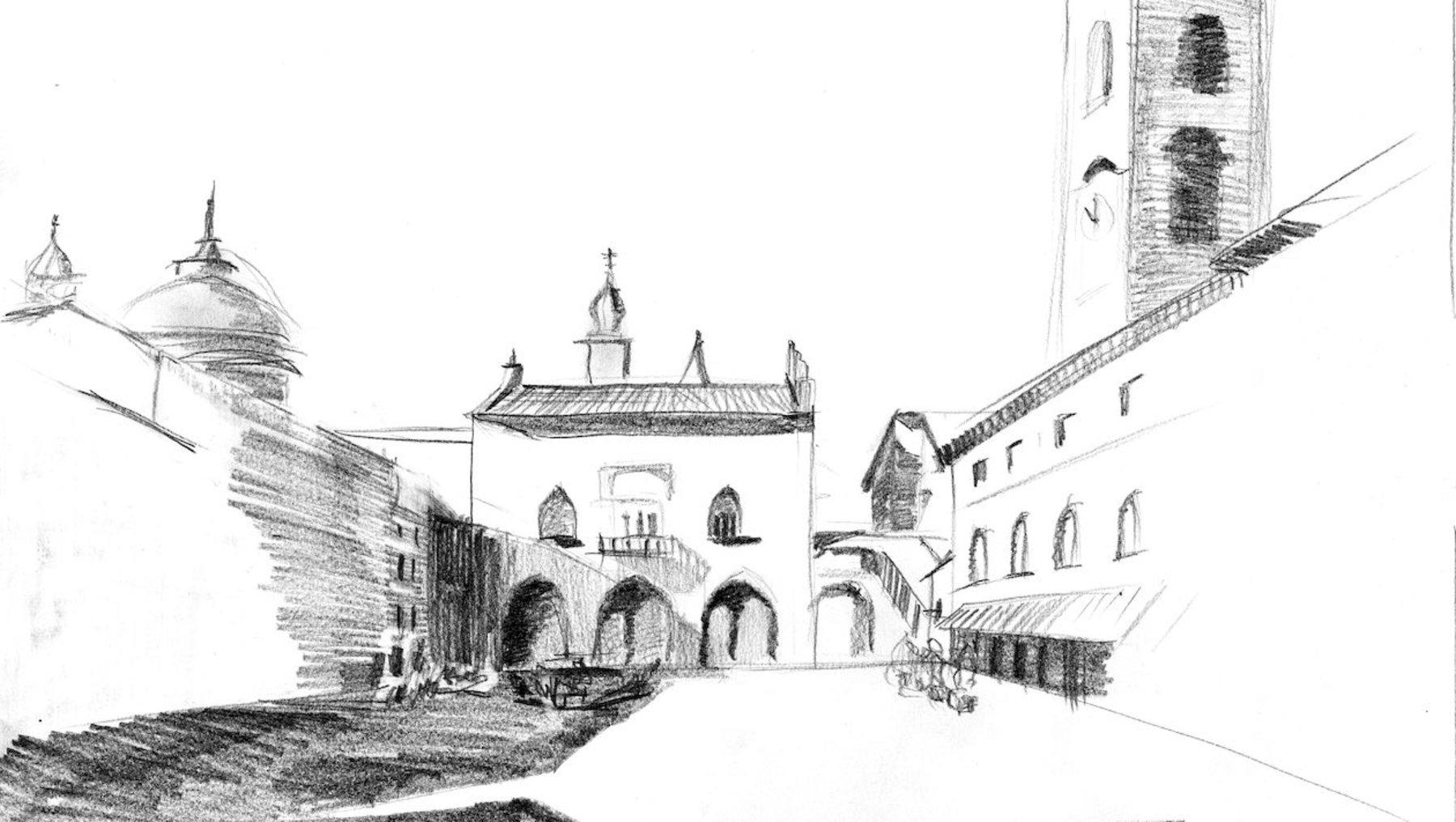 Domplatz Bergamo - Architekturzeichnung Waldemar Strohscherer