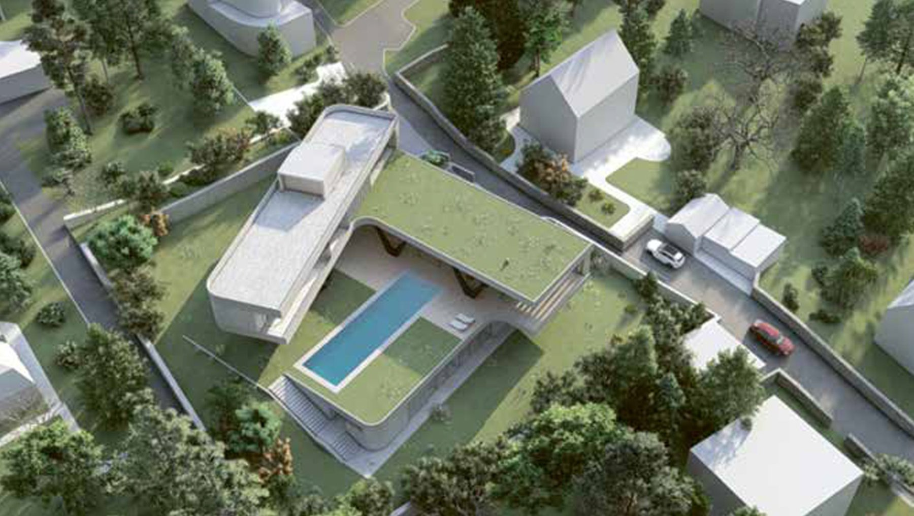 V-shaped Villa - with extensive city views